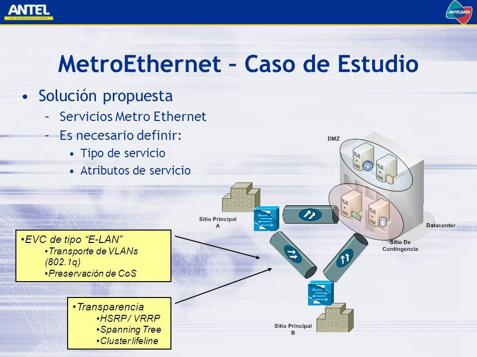 MetroEthernet – Caso de Estudio Solución propuesta –Servicios Metro Ethernet –Es necesario definir: Tipo de servicio Atributos de servicio EVC de tipo E-LAN Transporte de VLANs (802.1q) Preservación de CoS Transparencia HSRP / VRRP Spanning Tree Cluster lifeline