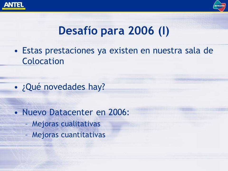 Desafío para 2006 (I) Estas prestaciones ya existen en nuestra sala de Colocation ¿Qué novedades hay.