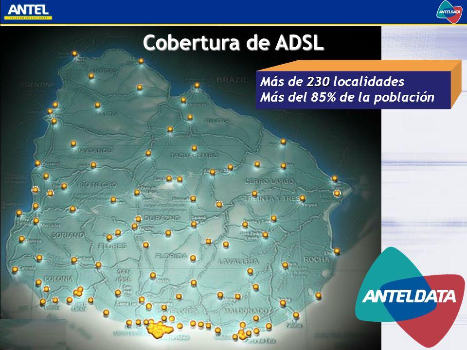 Cobertura de ADSL 230 Más de 230 localidades Más del 85% de la población