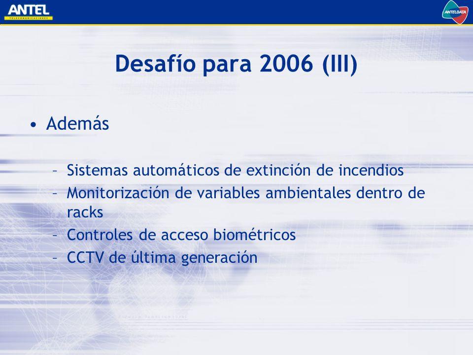 Desafío para 2006 (III) Además –Sistemas automáticos de extinción de incendios –Monitorización de variables ambientales dentro de racks –Controles de acceso biométricos –CCTV de última generación