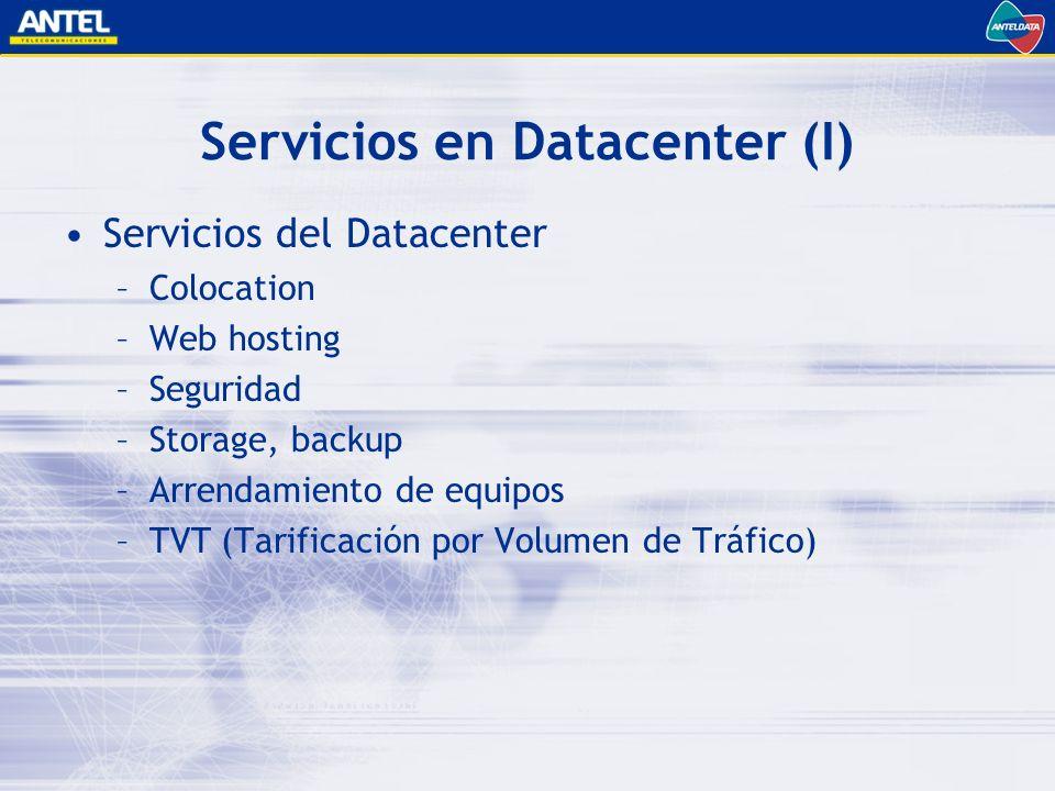 Servicios en Datacenter (I) Servicios del Datacenter –Colocation –Web hosting –Seguridad –Storage, backup –Arrendamiento de equipos –TVT (Tarificación por Volumen de Tráfico)