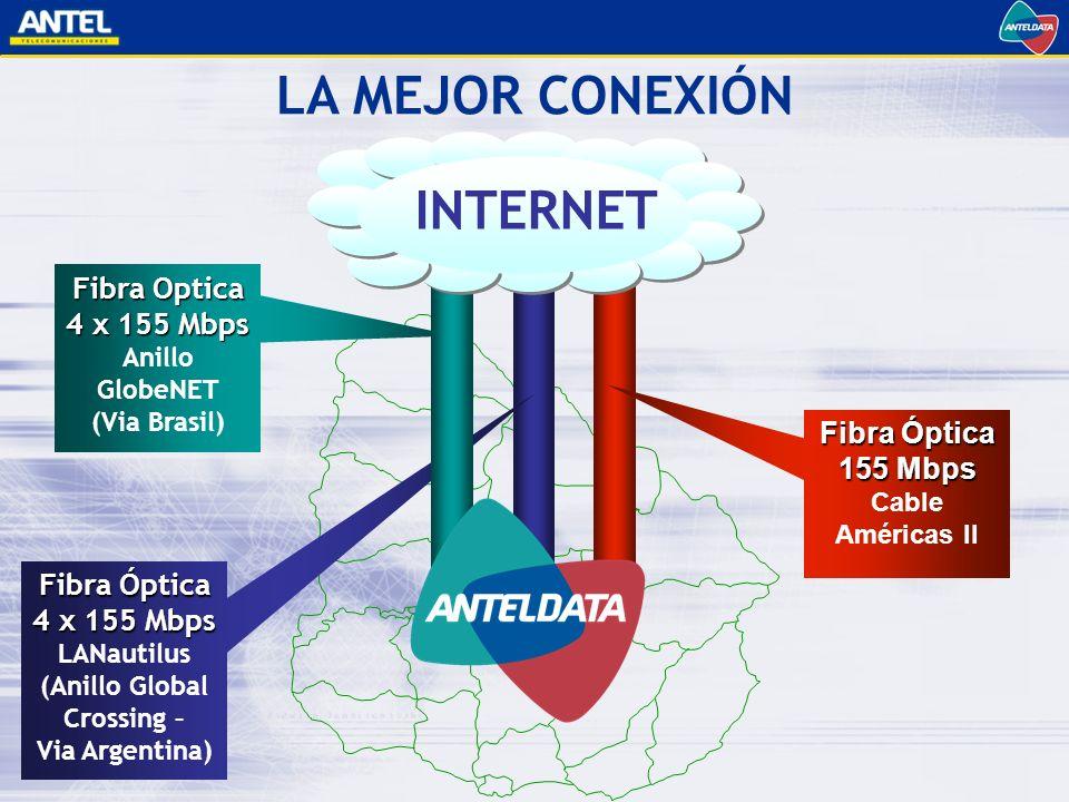 Fibra Óptica 4 x 155 Mbps LANautilus (Anillo Global Crossing – Via Argentina) Fibra Optica 4 x 155 Mbps Anillo GlobeNET (Via Brasil) Fibra Óptica 155 Mbps Cable Américas II LA MEJOR CONEXIÓN INTERNET