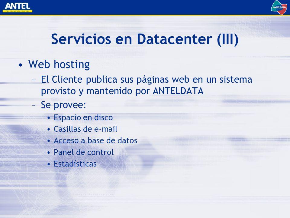 Servicios en Datacenter (III) Web hosting –El Cliente publica sus páginas web en un sistema provisto y mantenido por ANTELDATA –Se provee: Espacio en disco Casillas de e-mail Acceso a base de datos Panel de control Estadísticas