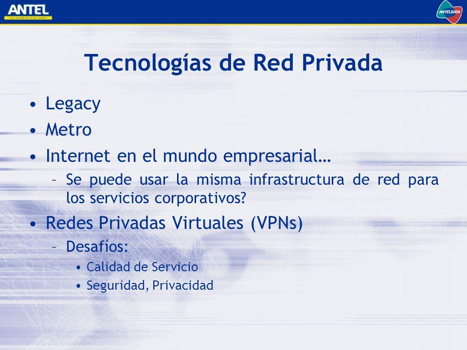 Tecnologías de Red Privada Legacy Metro Internet en el mundo empresarial… –Se puede usar la misma infrastructura de red para los servicios corporativos.