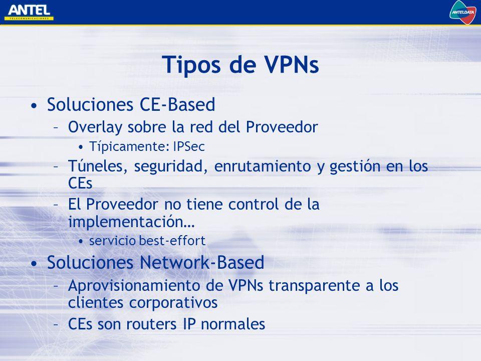 Tipos de VPNs Soluciones CE-Based –Overlay sobre la red del Proveedor Típicamente: IPSec –Túneles, seguridad, enrutamiento y gestión en los CEs –El Proveedor no tiene control de la implementación… servicio best-effort Soluciones Network-Based –Aprovisionamiento de VPNs transparente a los clientes corporativos –CEs son routers IP normales