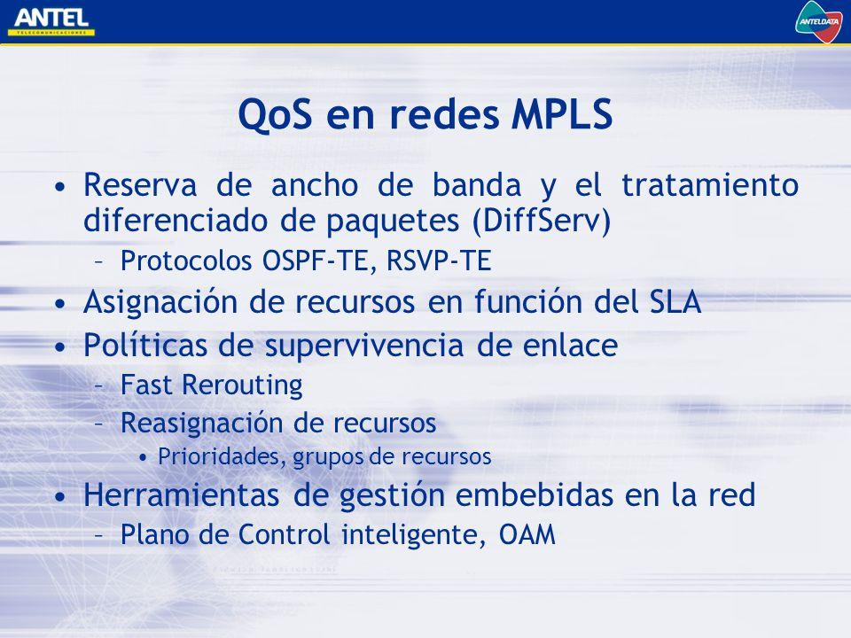 QoS en redes MPLS Reserva de ancho de banda y el tratamiento diferenciado de paquetes (DiffServ) –Protocolos OSPF-TE, RSVP-TE Asignación de recursos en función del SLA Políticas de supervivencia de enlace –Fast Rerouting –Reasignación de recursos Prioridades, grupos de recursos Herramientas de gestión embebidas en la red –Plano de Control inteligente, OAM