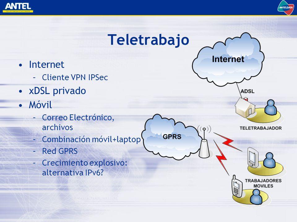 Teletrabajo Internet –Cliente VPN IPSec xDSL privado Móvil –Correo Electrónico, archivos –Combinación móvil+laptop –Red GPRS –Crecimiento explosivo: alternativa IPv6?