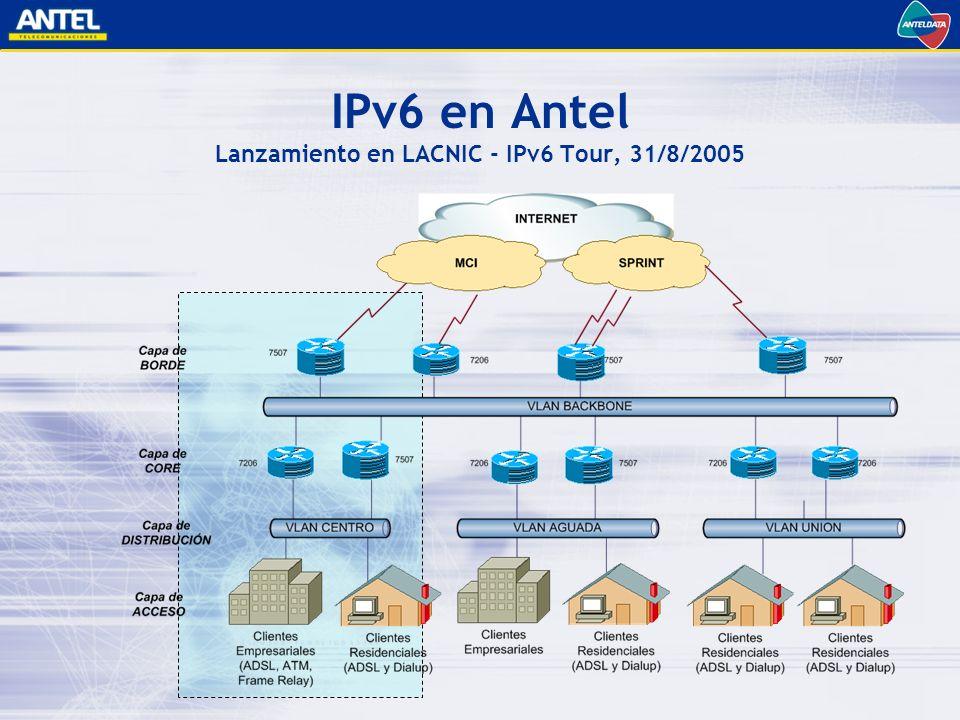 IPv6 en Antel Lanzamiento en LACNIC - IPv6 Tour, 31/8/2005
