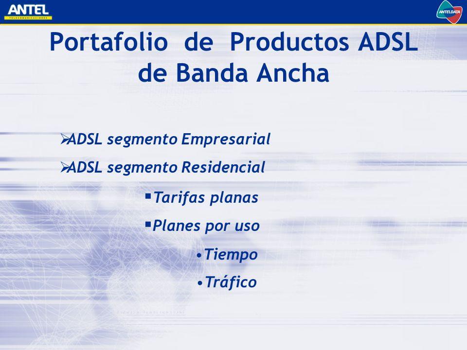ADSL segmento Empresarial ADSL segmento Residencial Tarifas planas Planes por uso Portafolio de Productos ADSL de Banda Ancha Tiempo Tráfico