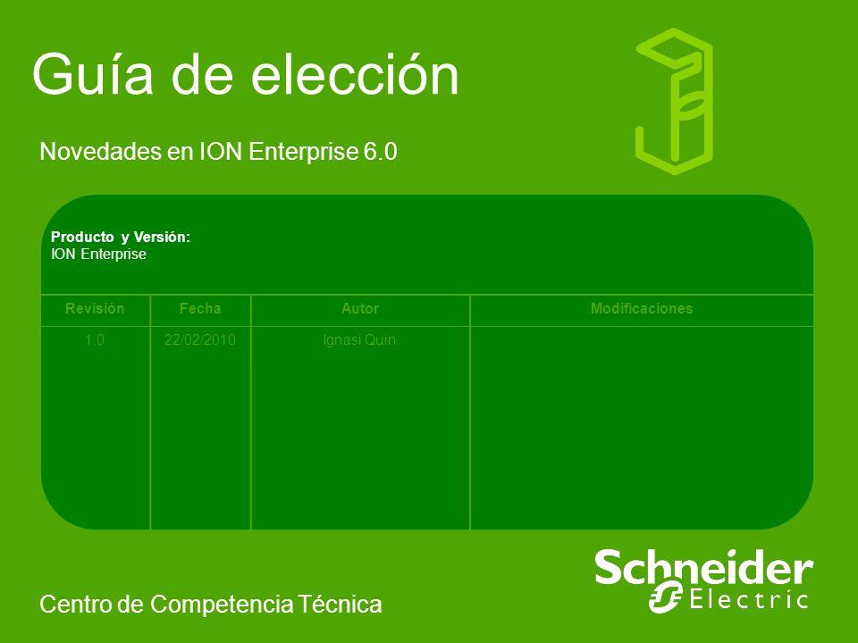 Novedades en ION Enterprise 6.0 Centro de Competencia Técnica Producto y Versión: ION Enterprise RevisiónFechaAutorModificaciones 1.022/02/2010Ignasi