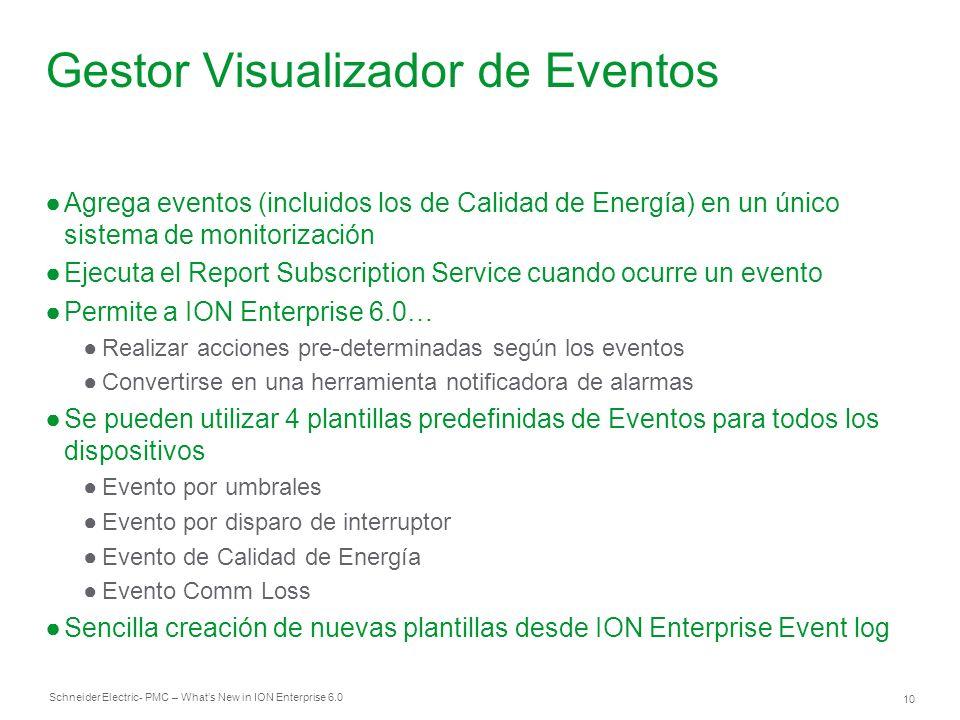 Schneider Electric 10 - PMC – Whats New in ION Enterprise 6.0 Gestor Visualizador de Eventos Agrega eventos (incluidos los de Calidad de Energía) en u