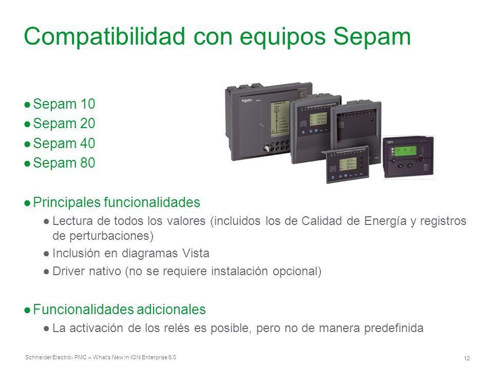 Schneider Electric 12 - PMC – Whats New in ION Enterprise 6.0 Compatibilidad con equipos Sepam Sepam 10 Sepam 20 Sepam 40 Sepam 80 Principales funcion