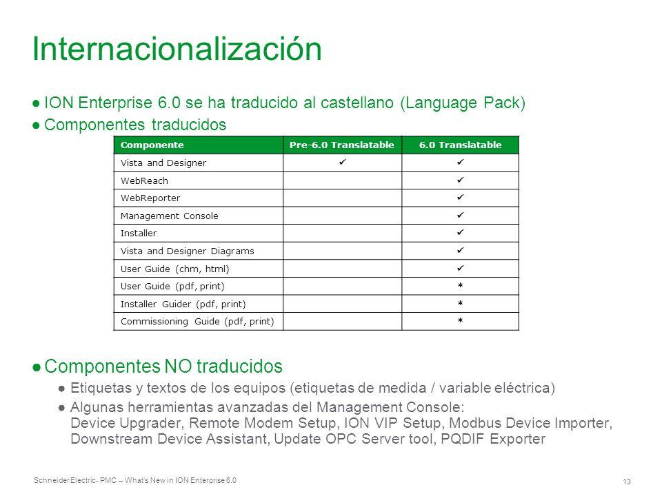 Schneider Electric 13 - PMC – Whats New in ION Enterprise 6.0 ION Enterprise 6.0 se ha traducido al castellano (Language Pack) Componentes traducidos