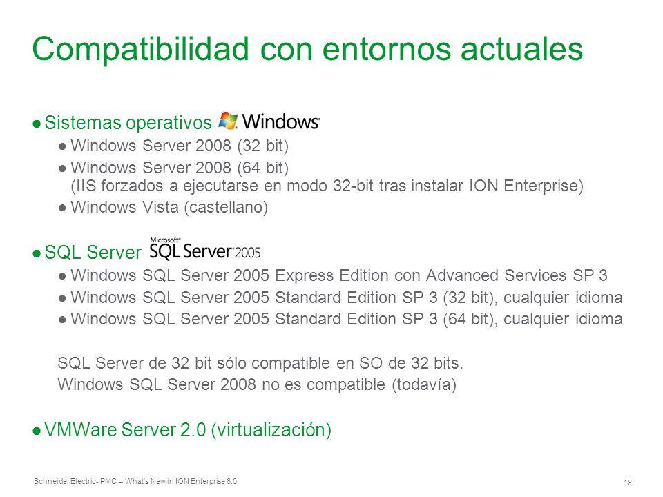 Schneider Electric 18 - PMC – Whats New in ION Enterprise 6.0 Compatibilidad con entornos actuales Sistemas operativos Windows Server 2008 (32 bit) Wi
