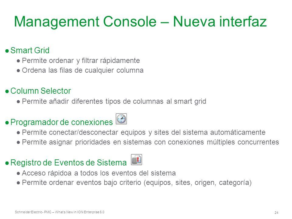 Schneider Electric 24 - PMC – Whats New in ION Enterprise 6.0 Smart Grid Permite ordenar y filtrar rápidamente Ordena las filas de cualquier columna C