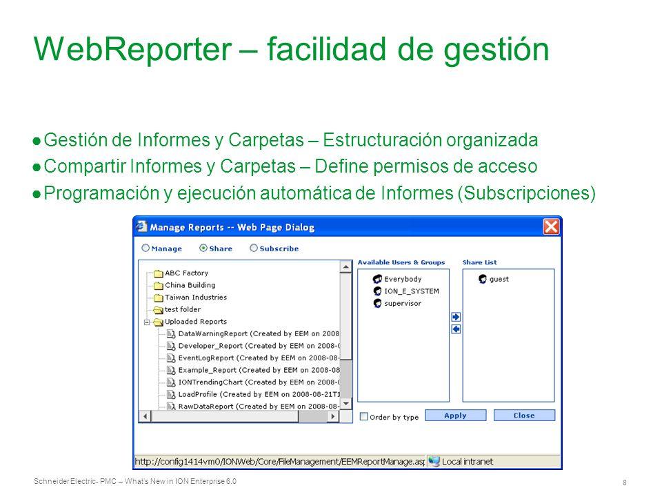 Schneider Electric 8 - PMC – Whats New in ION Enterprise 6.0 WebReporter – facilidad de gestión Gestión de Informes y Carpetas – Estructuración organi