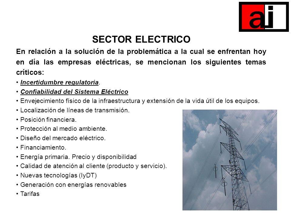 SECTOR ELECTRICO En relación a la solución de la problemática a la cual se enfrentan hoy en día las empresas eléctricas, se mencionan los siguientes t
