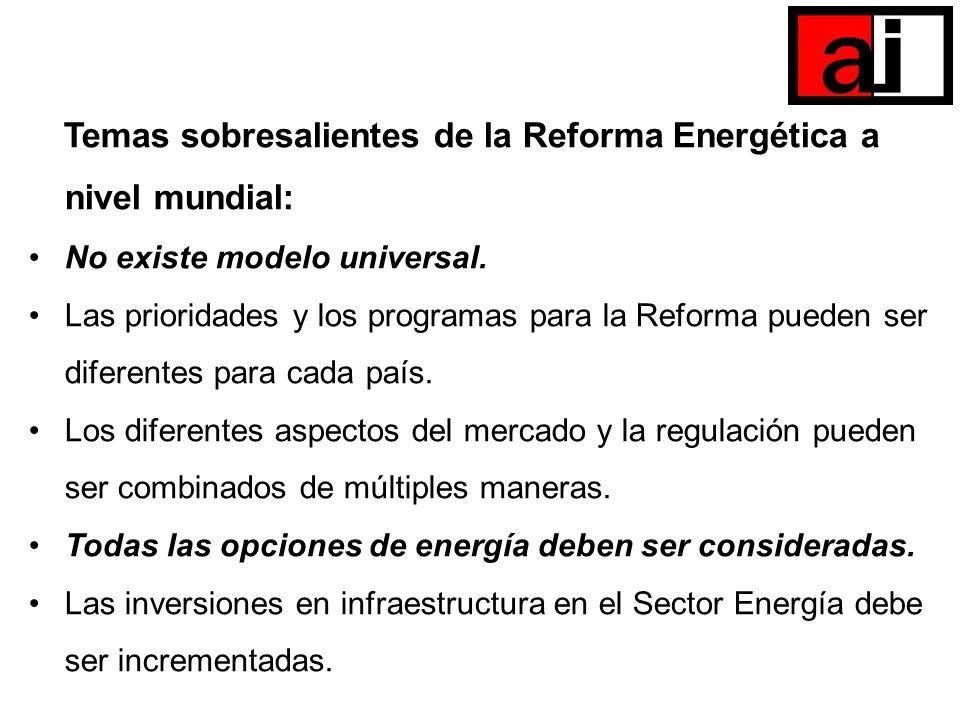 Temas sobresalientes de la Reforma Energética a nivel mundial: No existe modelo universal. Las prioridades y los programas para la Reforma pueden ser