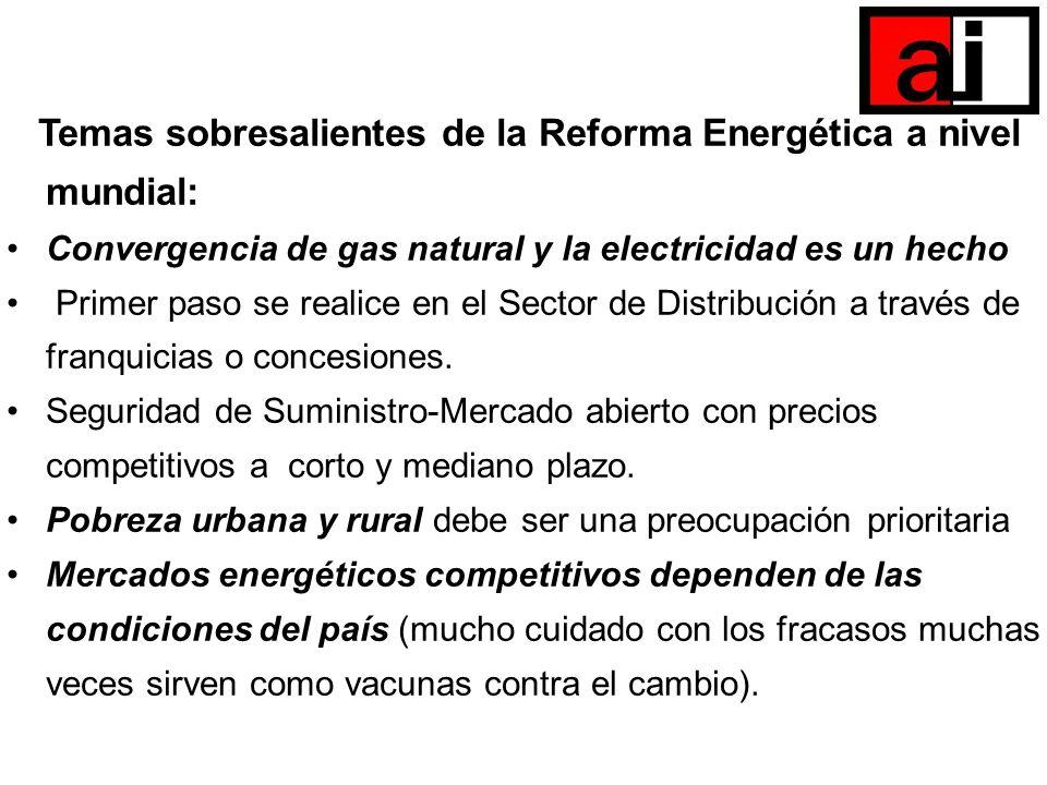 Temas sobresalientes de la Reforma Energética a nivel mundial: Convergencia de gas natural y la electricidad es un hecho Primer paso se realice en el