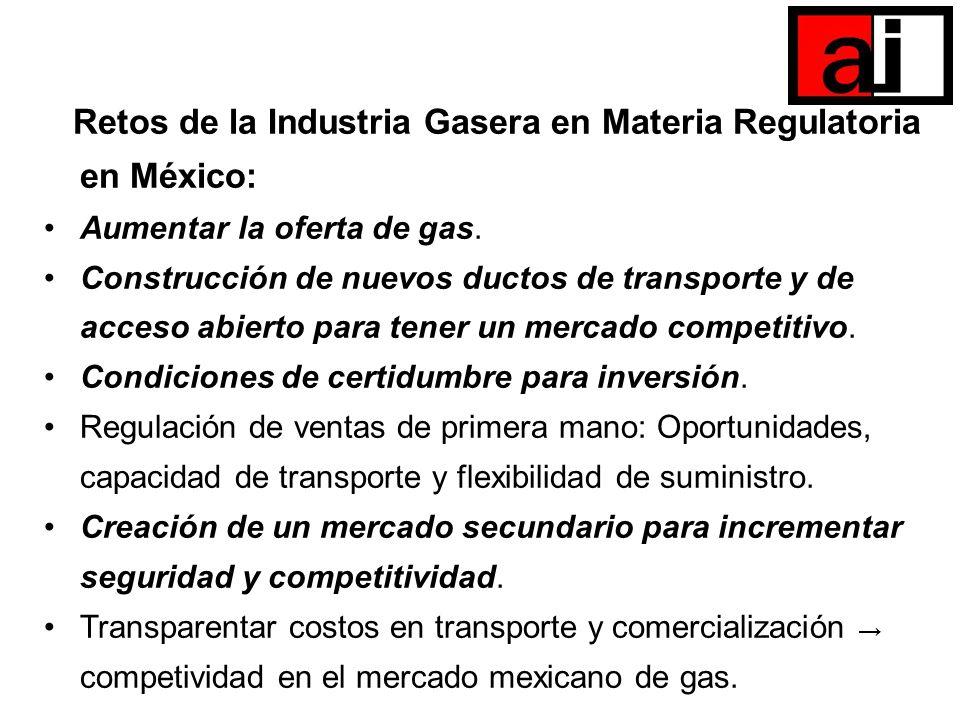 Retos de la Industria Gasera en Materia Regulatoria en México: Aumentar la oferta de gas. Construcción de nuevos ductos de transporte y de acceso abie