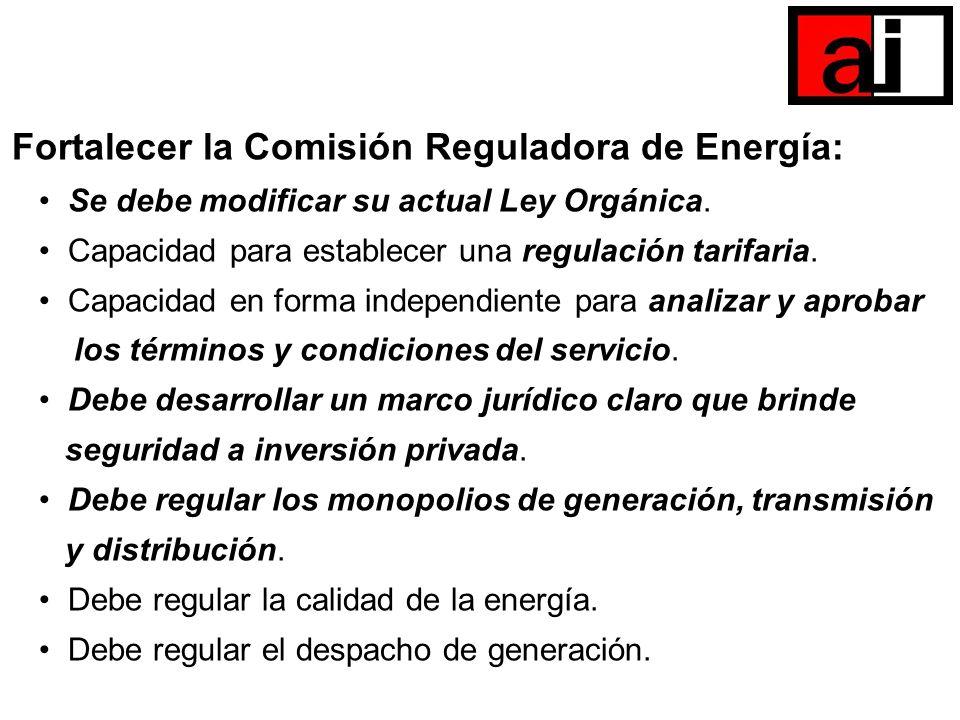 Fortalecer la Comisión Reguladora de Energía: Se debe modificar su actual Ley Orgánica. Capacidad para establecer una regulación tarifaria. Capacidad