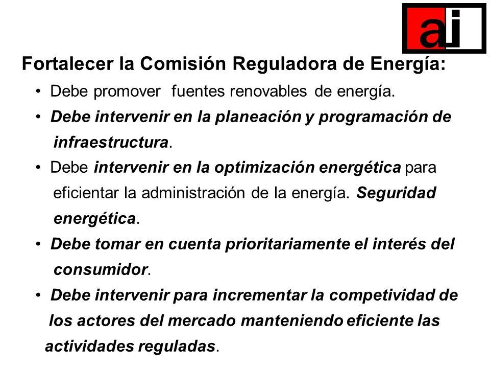 Fortalecer la Comisión Reguladora de Energía: Debe promover fuentes renovables de energía. Debe intervenir en la planeación y programación de infraest