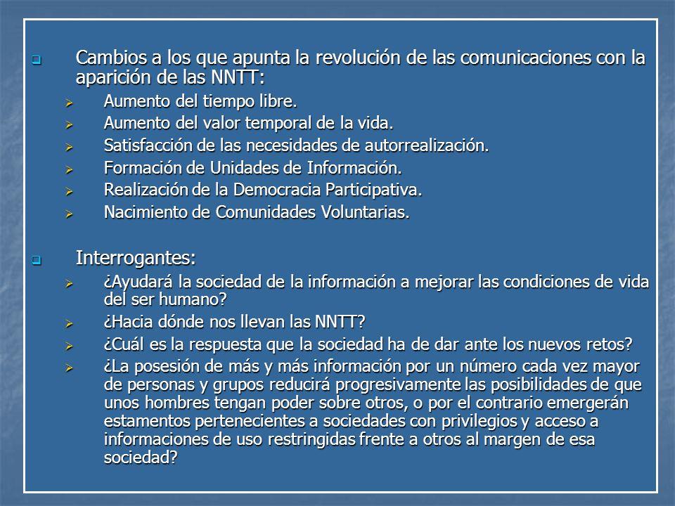 Cambios a los que apunta la revolución de las comunicaciones con la aparición de las NNTT: Cambios a los que apunta la revolución de las comunicaciones con la aparición de las NNTT: Aumento del tiempo libre.