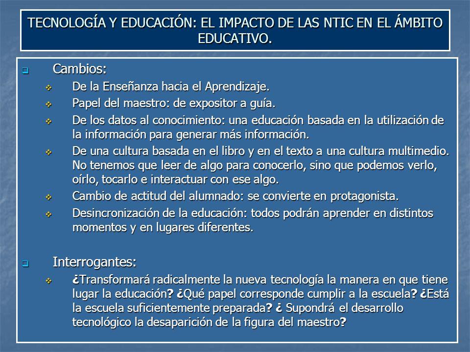 TECNOLOGÍA Y EDUCACIÓN: EL IMPACTO DE LAS NTIC EN EL ÁMBITO EDUCATIVO.