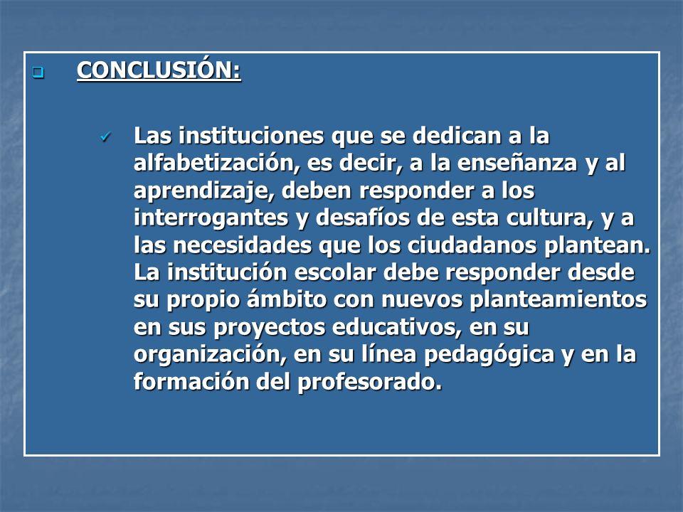 CONCLUSIÓN: CONCLUSIÓN: Las instituciones que se dedican a la alfabetización, es decir, a la enseñanza y al aprendizaje, deben responder a los interrogantes y desafíos de esta cultura, y a las necesidades que los ciudadanos plantean.