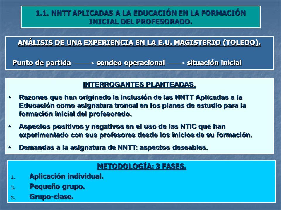 1.1.NNTT APLICADAS A LA EDUCACIÓN EN LA FORMACIÓN INICIAL DEL PROFESORADO.
