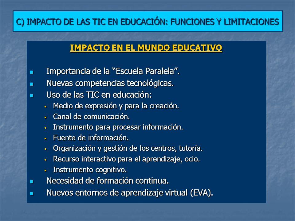 C) IMPACTO DE LAS TIC EN EDUCACIÓN: FUNCIONES Y LIMITACIONES IMPACTO EN EL MUNDO EDUCATIVO Importancia de la Escuela Paralela.