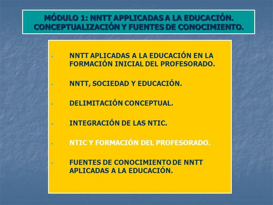 MÓDULO 1: NNTT APPLICADAS A LA EDUCACIÓN.CONCEPTUALIZACIÓN Y FUENTES DE CONOCIMIENTO.