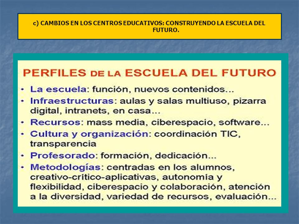 c) CAMBIOS EN LOS CENTROS EDUCATIVOS: CONSTRUYENDO LA ESCUELA DEL FUTURO.