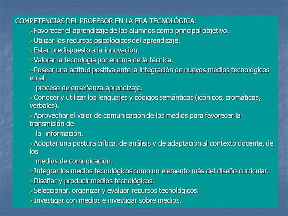 COMPETENCIAS DEL PROFESOR EN LA ERA TECNOLÓGICA: Favorecer el aprendizaje de los alumnos como principal objetivo.