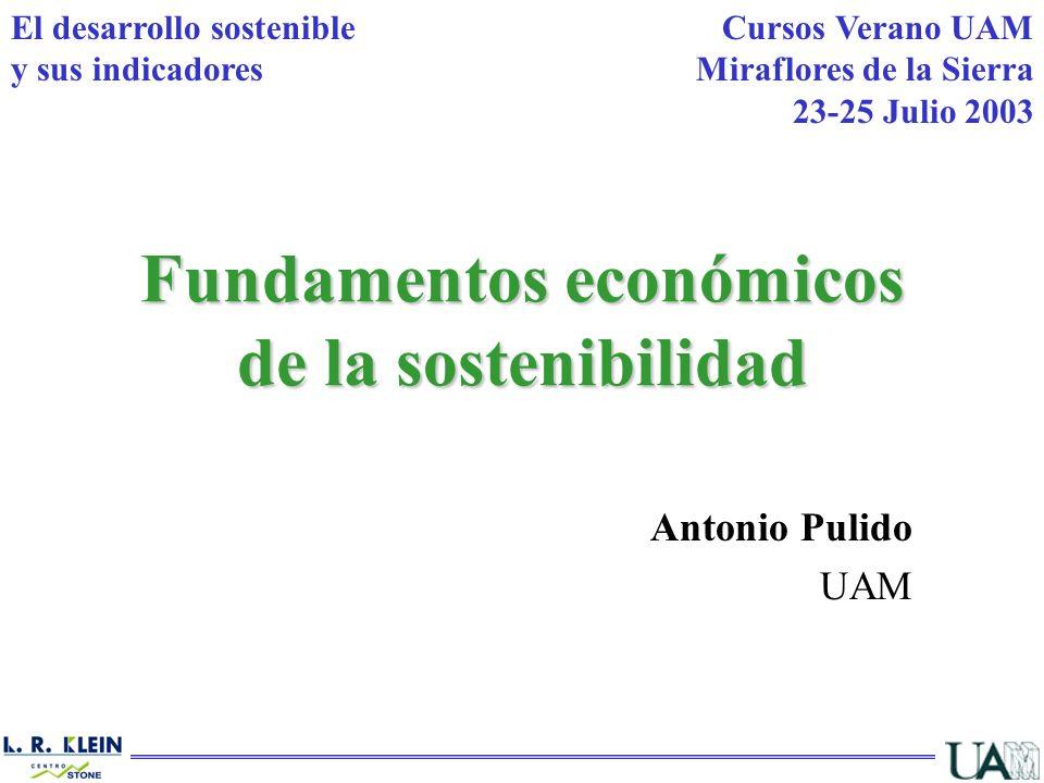 Fundamentos económicos de la sostenibilidad Antonio Pulido UAM Cursos Verano UAM Miraflores de la Sierra 23-25 Julio 2003 El desarrollo sostenible y s