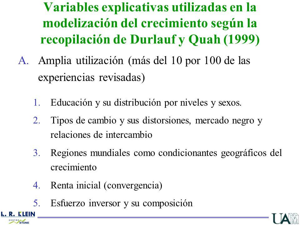 A.Amplia utilización (más del 10 por 100 de las experiencias revisadas) 1.Educación y su distribución por niveles y sexos. 2.Tipos de cambio y sus dis