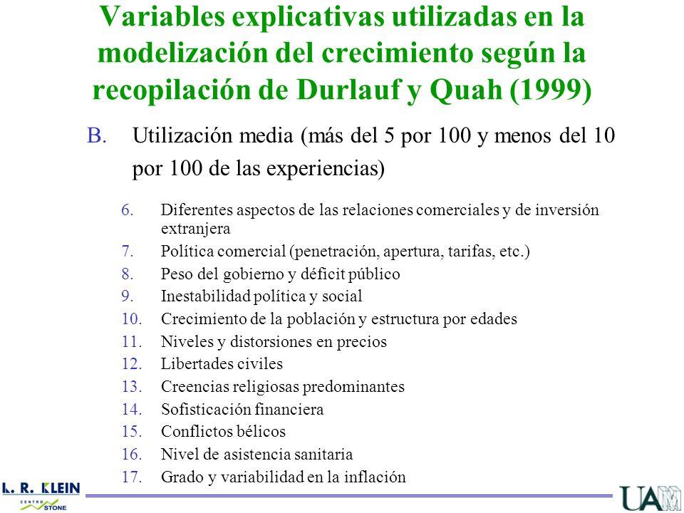 B.Utilización media (más del 5 por 100 y menos del 10 por 100 de las experiencias) 6.Diferentes aspectos de las relaciones comerciales y de inversión