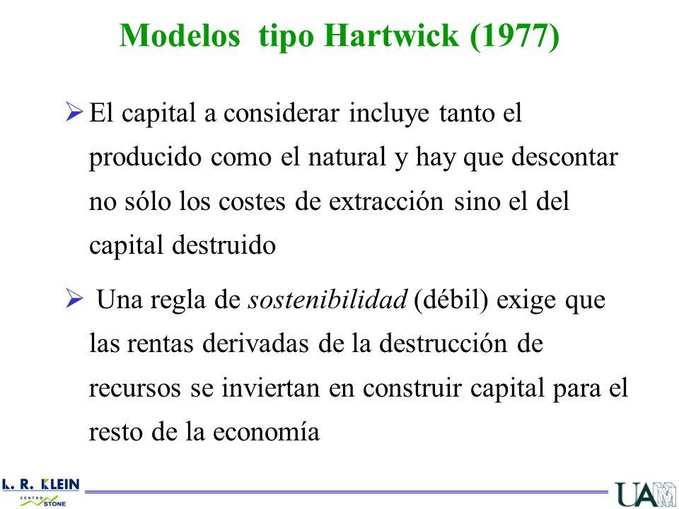 El capital a considerar incluye tanto el producido como el natural y hay que descontar no sólo los costes de extracción sino el del capital destruido