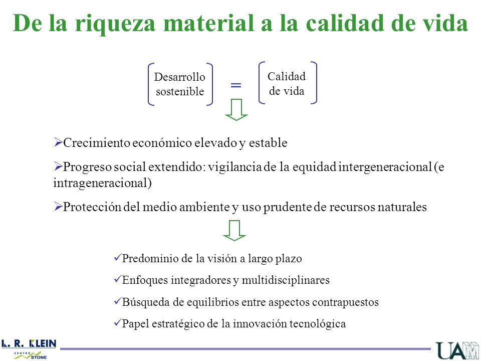 Crecimiento económico elevado y estable Progreso social extendido: vigilancia de la equidad intergeneracional (e intrageneracional) Protección del med