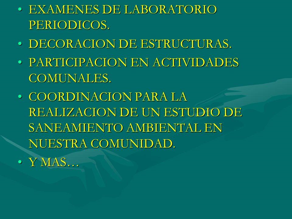 EXAMENES DE LABORATORIO PERIODICOS.EXAMENES DE LABORATORIO PERIODICOS. DECORACION DE ESTRUCTURAS.DECORACION DE ESTRUCTURAS. PARTICIPACION EN ACTIVIDAD