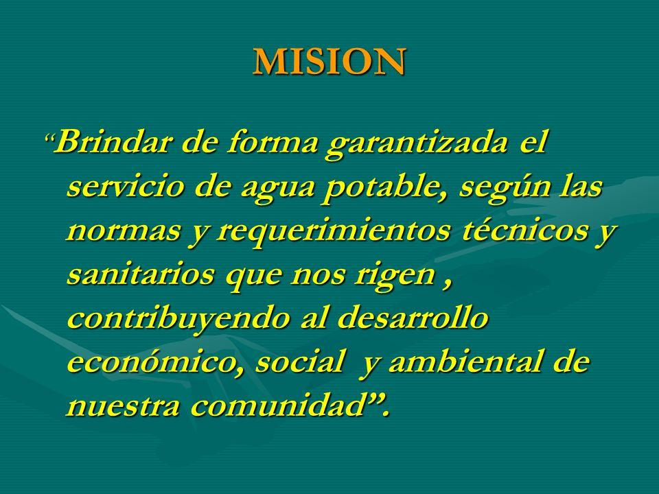 MISION Brindar de forma garantizada el servicio de agua potable, según las normas y requerimientos técnicos y sanitarios que nos rigen, contribuyendo al desarrollo económico, social y ambiental de nuestra comunidad.
