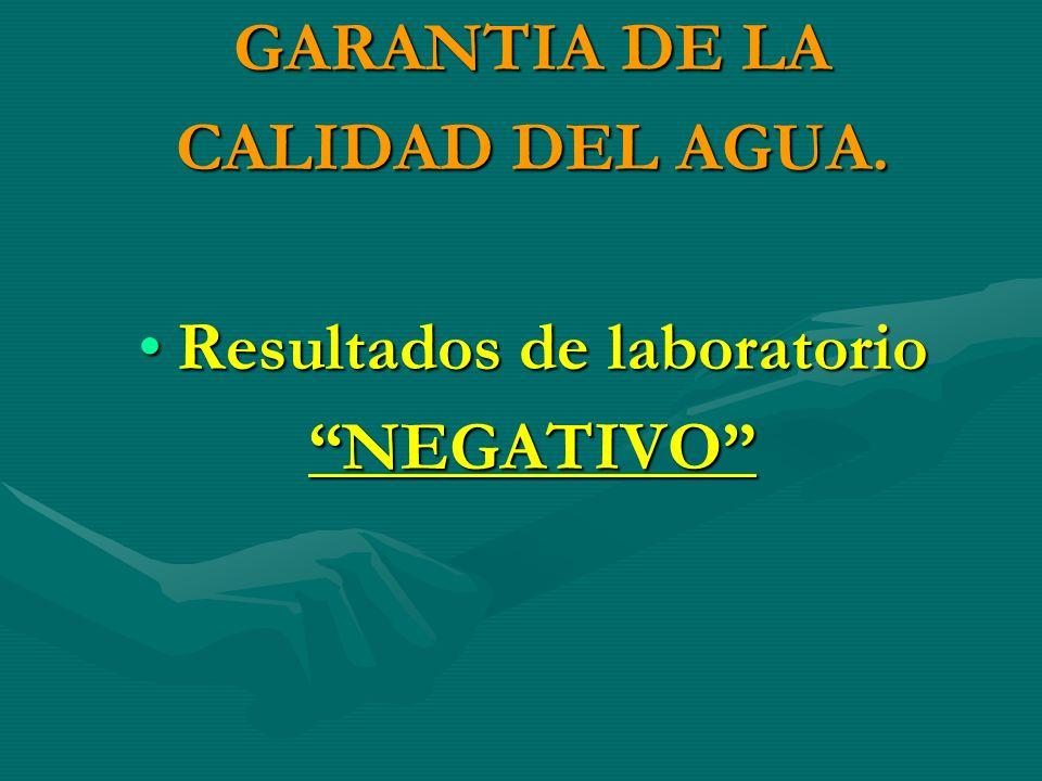 GARANTIA DE LA CALIDAD DEL AGUA. Resultados de laboratorioResultados de laboratorioNEGATIVO