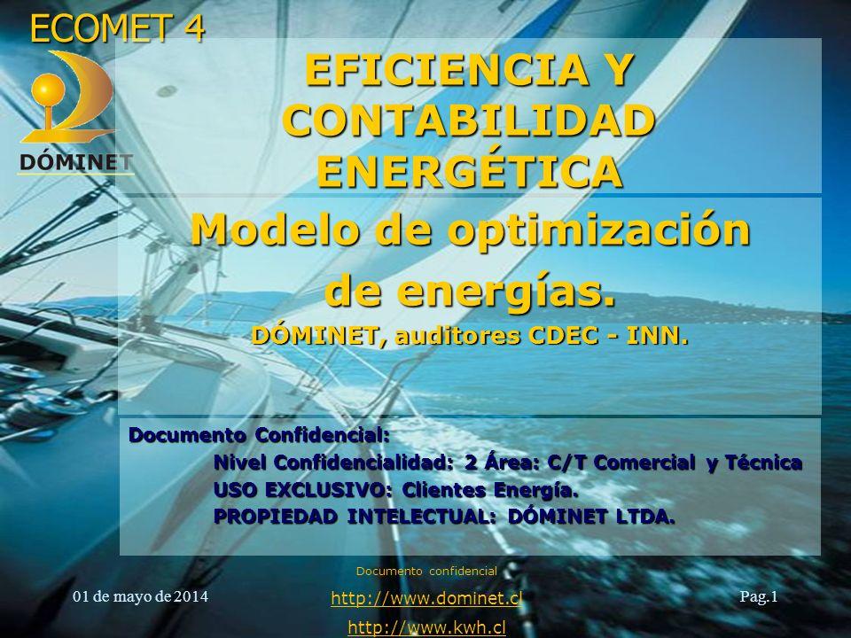 ECOMET 4 01 de mayo de 2014 Documento confidencial http://www.dominet.cl http://www.kwh.cl Pag.1 Modelo de optimización de energías. DÓMINET, auditore