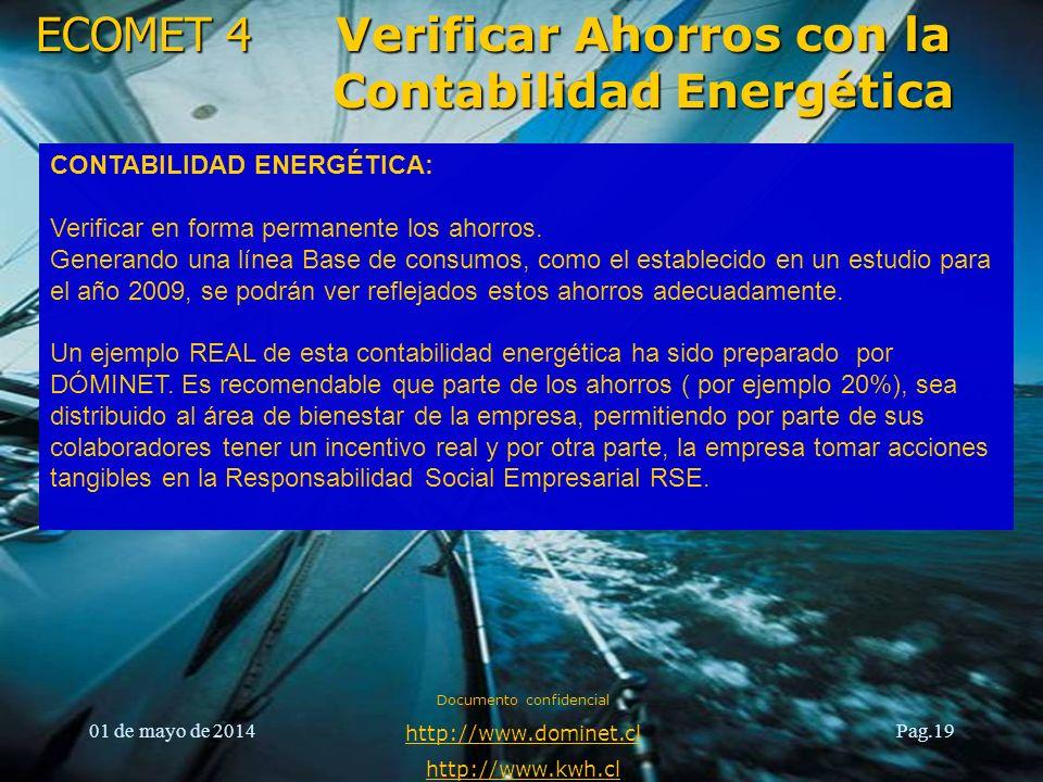 ECOMET 4 01 de mayo de 2014 Documento confidencial http://www.dominet.cl http://www.kwh.cl Pag.19 Verificar Ahorros con la Contabilidad Energética CON