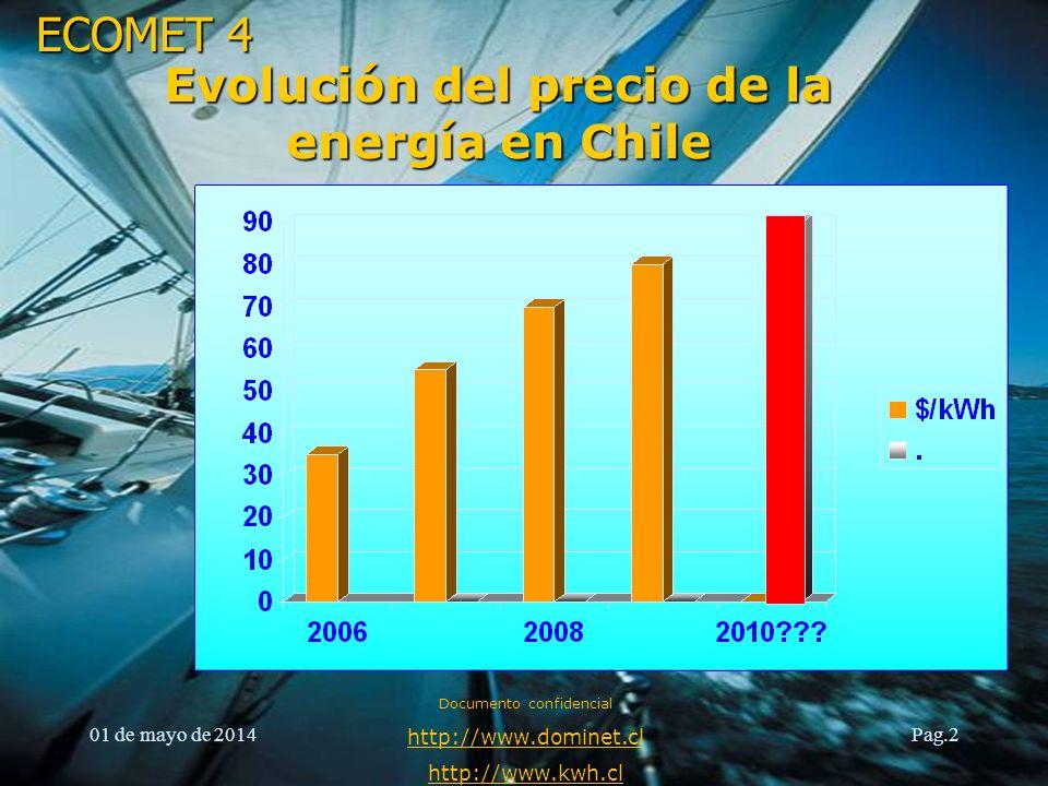 ECOMET 4 01 de mayo de 2014 Documento confidencial http://www.dominet.cl http://www.kwh.cl Pag.2 Evolución del precio de la energía en Chile