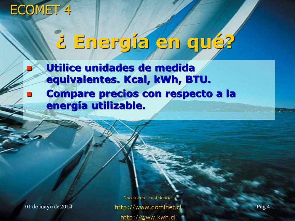 ECOMET 4 01 de mayo de 2014 Documento confidencial http://www.dominet.cl http://www.kwh.cl Pag.4 ¿ Energía en qué? n Utilice unidades de medida equiva