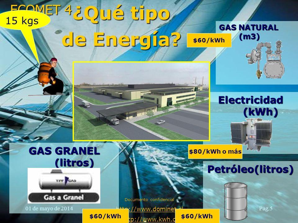 ECOMET 4 01 de mayo de 2014 Documento confidencial http://www.dominet.cl http://www.kwh.cl Pag.5 Electricidad (kWh) Petróleo(litros) GAS GRANEL (litro