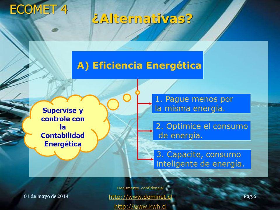 ECOMET 4 01 de mayo de 2014 Documento confidencial http://www.dominet.cl http://www.kwh.cl Pag.6 ¿Alternativas? A) Eficiencia Energética 1. Pague meno