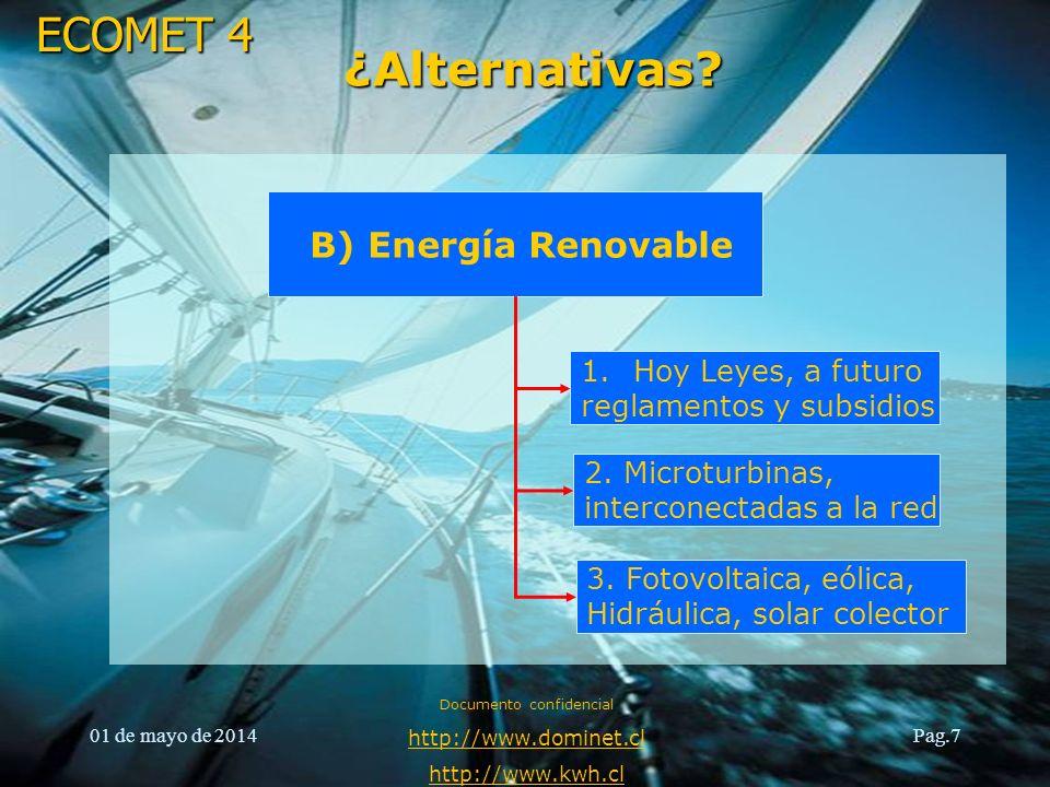 ECOMET 4 01 de mayo de 2014 Documento confidencial http://www.dominet.cl http://www.kwh.cl Pag.7 ¿Alternativas? B) Energía Renovable 1.Hoy Leyes, a fu