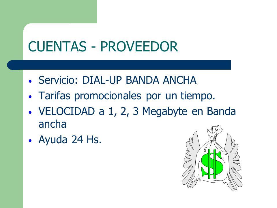 CUENTAS - PROVEEDOR Servicio: DIAL-UP BANDA ANCHA Tarifas promocionales por un tiempo. VELOCIDAD a 1, 2, 3 Megabyte en Banda ancha Ayuda 24 Hs.